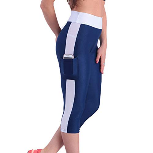 Thenxin Cropped Yoga Leggings for Women High Waist Slimming Sports Running Capri with Side Pocket(Navy,S