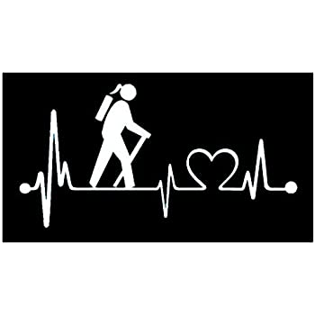 Guy Hiker Camper with Dog Camping Tent Heartbeat Lifeline Decal Sticker for Car Window 8.0 Inch BG 333