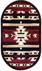Southwest Native American Oval Doorway Mat Area Rug Red & Black Carpet King Design 113 (2 Feet 8 Inch X 4 Feet 8 Inch Oval)