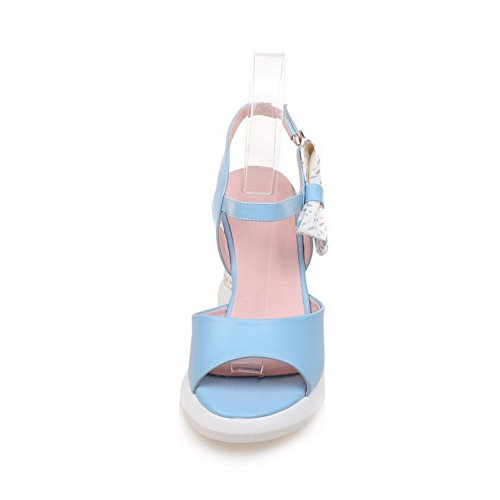 AllhqFashion Womens Microfiber Assorted Color Buckle Open Toe High-Heels Sandals Blue HXpOmGaS