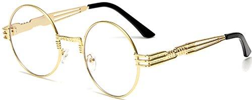 J&L Glasses Vintage Round Metal Frame Glasses Steampunk Sunglasses for Men or Women (Clear,Golden, - Square Round Or Glasses