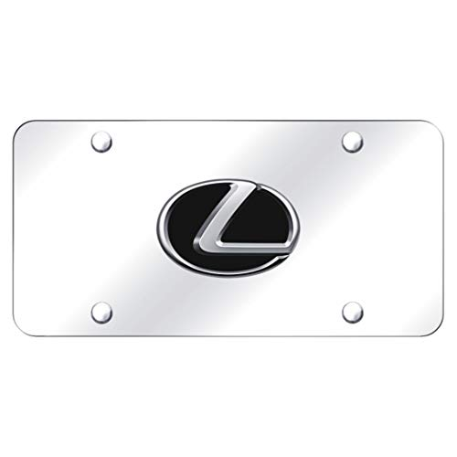 Lexus 3D Black Infill Logo Chrome Steel License Plate