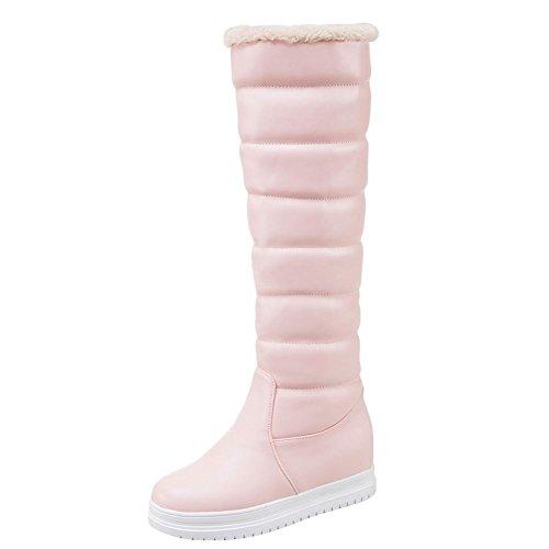 Piede Di Fascino Delle Donne Inverno Nascosto Piattaforma Tacco Alto Stivali Da Neve Al Ginocchio Rosa