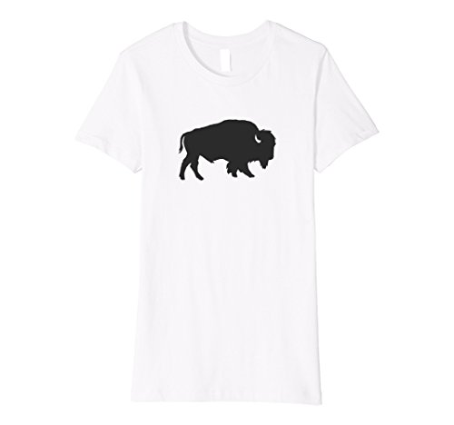 Women's Buffalo Silhouette Shadow T-Shirt Charcoal Large White