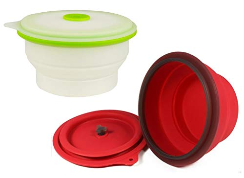 AvaLeisure Collapsible Silicone Bowl with Lid, Space-Saving Camping, RV, Lunch, Travel, Pet or Puppy Bowls for Outdoor, Kitchen, School, Office