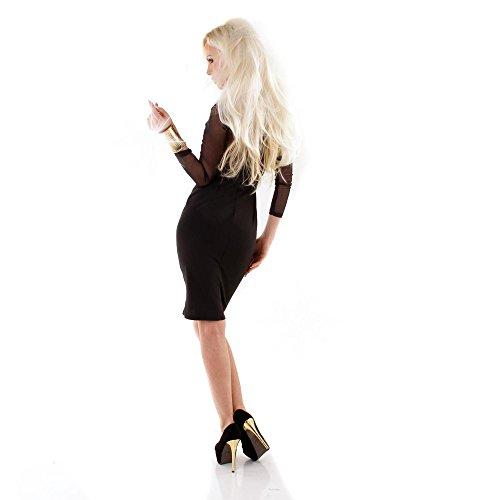 ... EXCLUSIV Damen knielanges glamouröses Cocktailkleid Etuikleid Kleid  Mini Midi Kleid Minikleid mit Spitze Lacy Shape Shaping 42c8949b8e