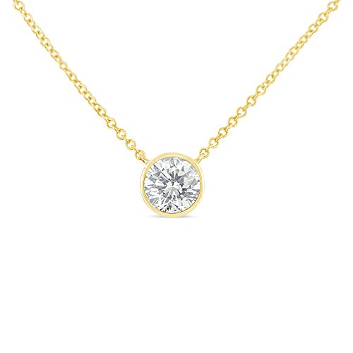 10K Gold Bezel Set Solitaire Diamond Pendant Necklace (.10 cttw, H-I color, I1-I2 clarity) (Yellow)