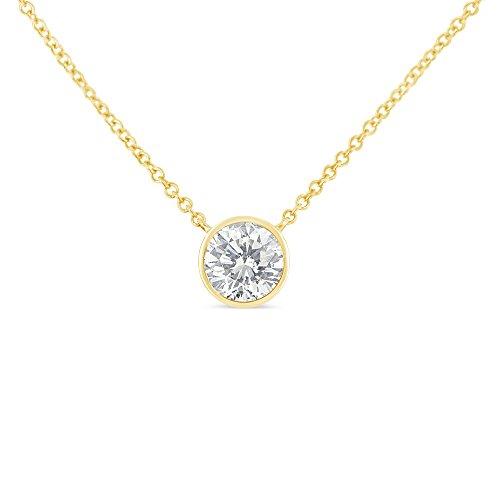 Original Classics 10k Yellow Gold Bezel-Set Diamond Solitaire Pendant Necklace (0.1 cttw, H-I Color, SI2-I1 Clarity)