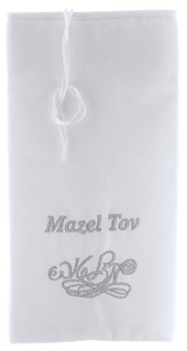 - Groom Glass Cover, Jewish Glass Breaking Pouch for Weddings, Pre-made Cloth Pouch, Silver Embroidery of Mazel Tov in Hebrew and English