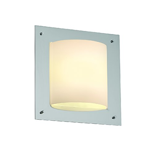 Justice Design Group Lighting FSN-5561-OPAL-CROM-LED1-1000 Fusion-Framed Square 4-Sided Wall Sconce Opal-LED, Polished Chrome - Crom Framed Square
