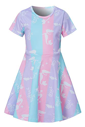 (Girls Short Sleeve Dress 3D Print Cute Rainbow Mermaid Whale Pattern Summer Dress Casual Swing Theme Birthday Party Sundress Toddler Kids Twirly Skirt)