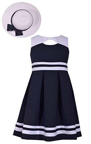 Bonnie Jean Girls Nautical Easter Dress with Hat (4) Navy -