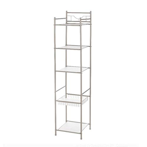 Magshion 5 Tier 61 in Height-Bathroom Shelving Unit Storage Corner Shelf Organization Rack, Silver