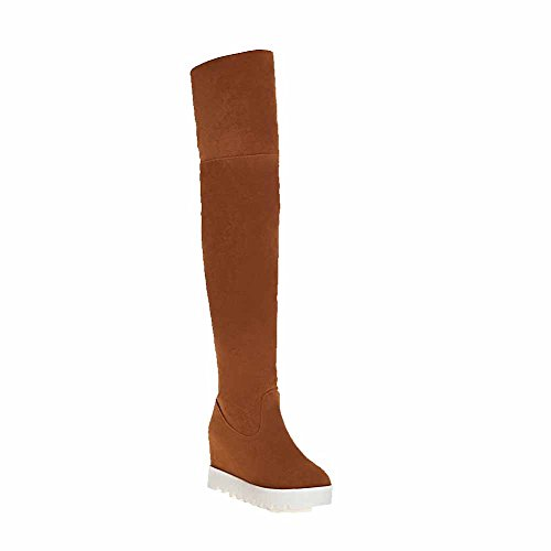 Allhqfashion Women's Pull-on High-Heels Imitated Suede Solid High-top Boots Brown gPLg43F