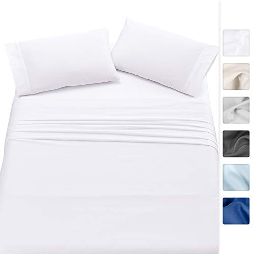 500-Thread-Count 100% Cotton Sheet Pure White Queen-Sheets Set, 4-Piece Long-staple Combed Cotton Best-Bedding Sheets For Bed, Soft & Silky Sateen Weave Fits Mattress upto 18'', Deep Pocket