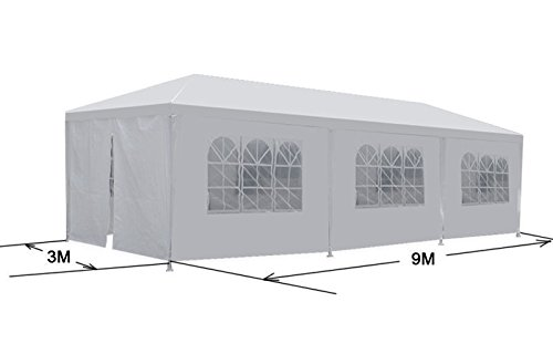 BBQ Gazebo Pavilion White Canopy Wedding Party Tent With Side Walls ()