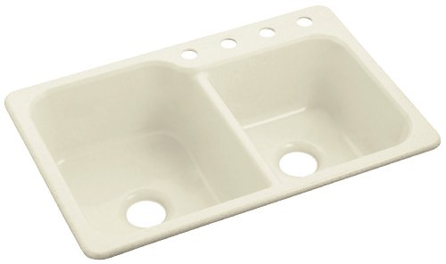 Sterling SC3322DBG-96 Maxeen 33-inch by 22-inch Top-mount Large/Medium Double Bowl Vikrell Kitchen Sink, Biscuit (Kitchen Sink Maxeen)