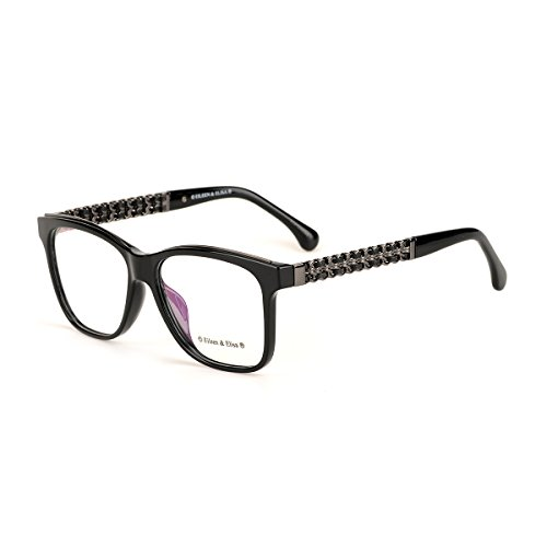 Eileen&Elisa Oval Vinatge Glasses Frame Metal Clear Lens Reading Eyeglasses with Case (Black, 54) (Glasses Vinatge)