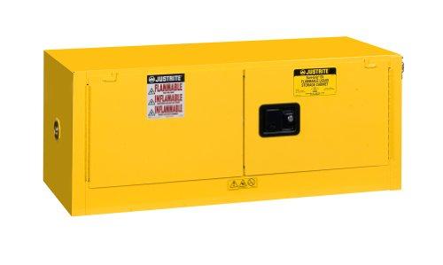 Justrite 891300 Sure-Grip EX Galvanized Steel 2 Door Manual Piggyback Flammables Safety Storage Cabinet, 12 Gallon Capacity, 43