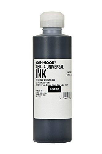 Koh-I-Noor Pigment-Based Universal Drawing Ink, 8 Ounce Bottle, Black (30804.BLA)