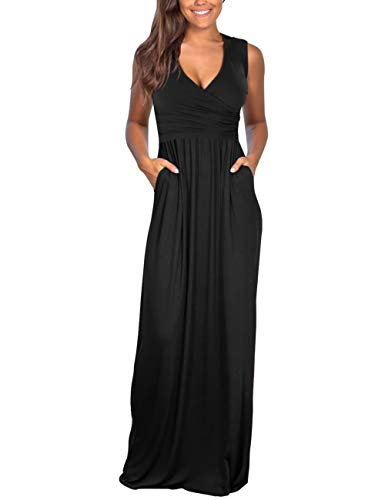 (DAMISSLY Women's Floral Maxi Dresses Sleeveless V-Neck Loose Plain Casual Long Dresses with Pockets (XL, Pure Black))