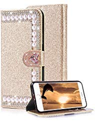 Aearl iPhone 7 Plus Diamond Wallet Case For Women,For Apple iPhone 8 Plus Shiny Gold Cover,Luxury Fashion Glitter Sparkle Bling Crystal Rhinestone Love Heart Buckle Closure Card Holder Leather Case