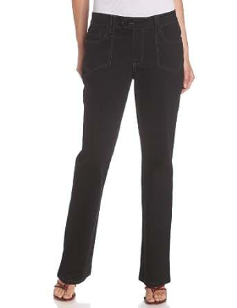 BANDOLINOBLU Women's Erika Wide Leg Jean, Black, 6