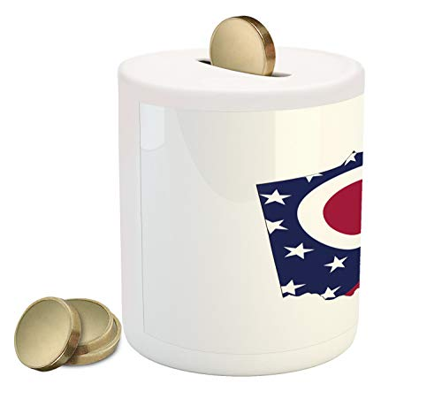 Lunarable Ohio Piggy Bank, Ohio State Map with Flag The Buckeye State Triangle Stars and Strips, Printed Ceramic Coin Bank Money Box for Cash Saving, Magenta Cobalt Blue White ()