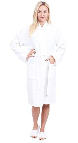Turkuoise Women's Long Waffle Robe, 100% Cotton Kimono Bathrobe Made in Turkey, Diamond Pattern (White, Small/Medium) ()