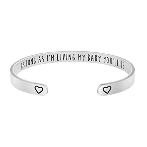 Joycuff As Long As I'm Living My Baby You'll Be Personalized Gift for Mom Mother Day Jewelry