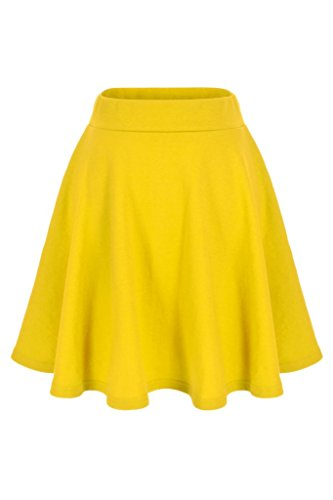Basic Solid Stretchy Cotton High Waist A-line Flared Skater Mini Skirt (M, Yellow) -