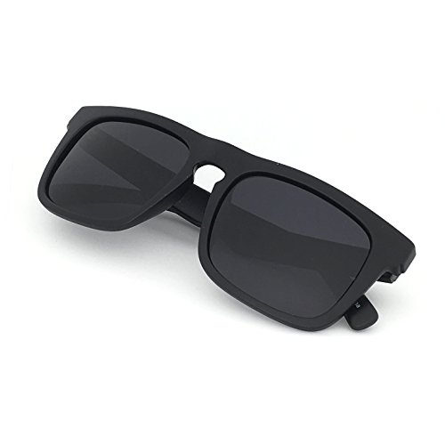 J+S Raglan Surfer's Choice Flash Mirror Lens Wayfarer Large Fit Square Matte Finish Polarized 400UV Sunglasses for Men (Black Frame Black - Mens Sunglasses Square