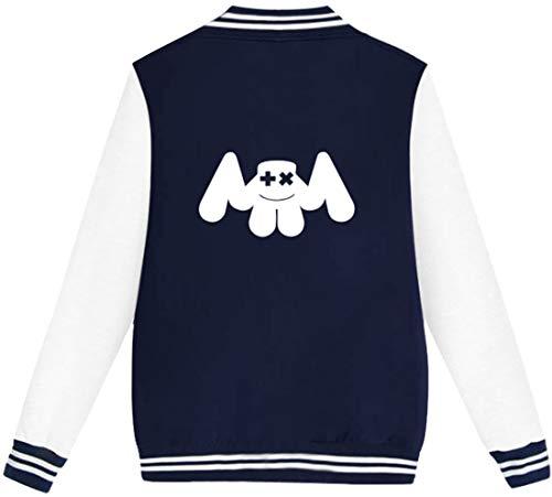 Longue Veste 3409 Uni Blousons Bleu Baseball Edm Femme bb De Marshmello Flychen Hoodie Manche 1U6wfq