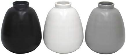 Amazon Brand Ravenna Home Mid-Century Stoneware Vases, Set of 3, 4.8 H, 3 colors