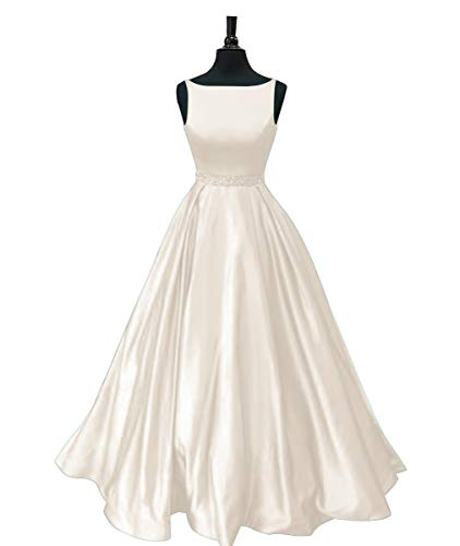 Prom Dresses Long Satin Beaded A-line Formal Dress for Women with Pockets 2019 Ivory Size 18