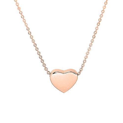 (KUIYAI Tiny Heart Necklace Simple Charm Pendant Choker Gift for Women (Rose)