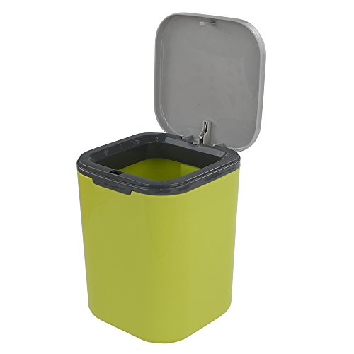 Hommp Tiny Countertop Trash Can, 0.5 Gallon with Push-Buttom (Green Yellow)