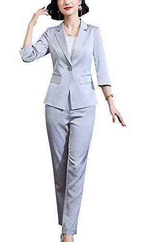 Women's Two Pieces Blazer Office Lady Suit Set Work Blazer Jacket and Pant (Grey-1342, XS)