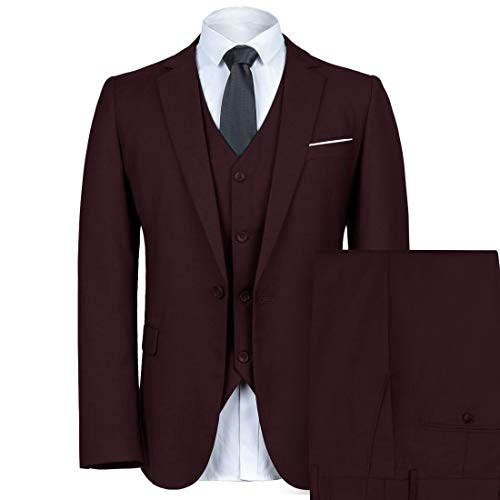 WEEN CHARM Mens Slim Fit Suit One Button Notch-Lapel 3 Pieces Suits Blazer Tux Vest & Trousers