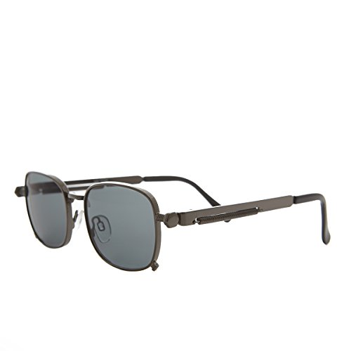 Sunglass Museum - Tailored Steampunk Gun Metal Sunglass with Industrial Temples and Gray ()
