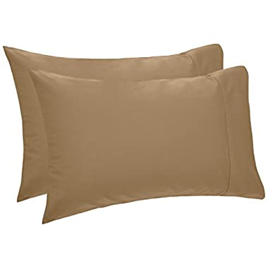 Pinzon 400-Thread-Count Hemstitch Egyptian Cotton Pillowcases - Standard, Chestnut (Set of 2)