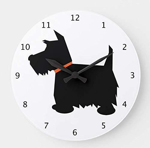 OSWALDO Scottish Terrier Dog Scottie Black Silhouette Decorative Round Wooden Wall Clock - 12 inch