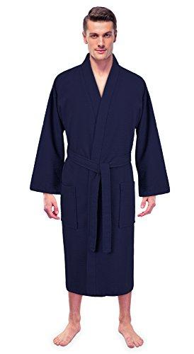 Turkuoise Men's 100% Premium Turkish Cotton Lightweight Spa Bathrobe Made In (Full Robe)