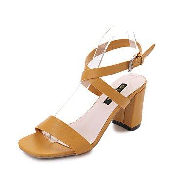 YFF Sandales femmes Talon,Jaune,Boucle US7.5