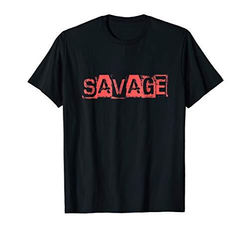 - Savage Shirt Red Box Logo Graphic T-shirt Crew Neck Design