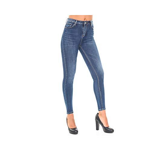 Blu Slim Caviglie Fit Jeans Donna Alle Da 5 Pantaloni Lunghezza Tasche Denim OqwZaFWWn