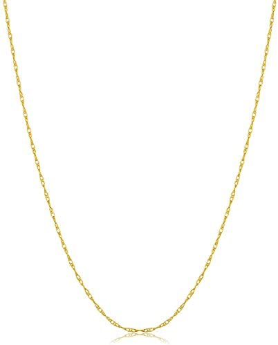 Kooljewelry 14k Yellow, White or Rose Gold 0.8mm Rope Chain Necklace (14, 16, 18, 20, 24 or 30 inch) - VERY THIN and LIGHTWEIGHT