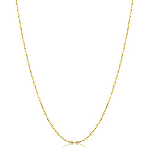 Kooljewelry Solid 14k Yellow Gold 0.8mm Thin Rope Chain (24 inch)