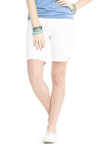 Lagaci Women's French Terry Bermuda Shorts - White - S (Terry Bermuda)
