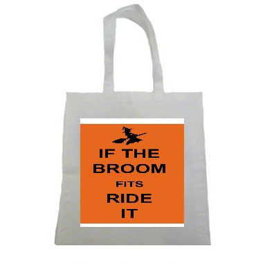 If The Broom Fits Ride it Witch Halloween Halloween Trick Or Treat Polyester White Tote Bag 15x16x 3.5]()